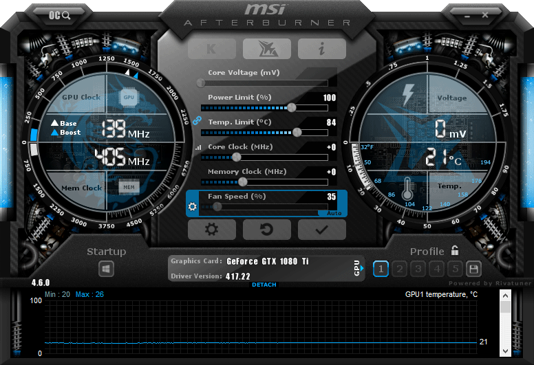 MSI Afterburner interface screen